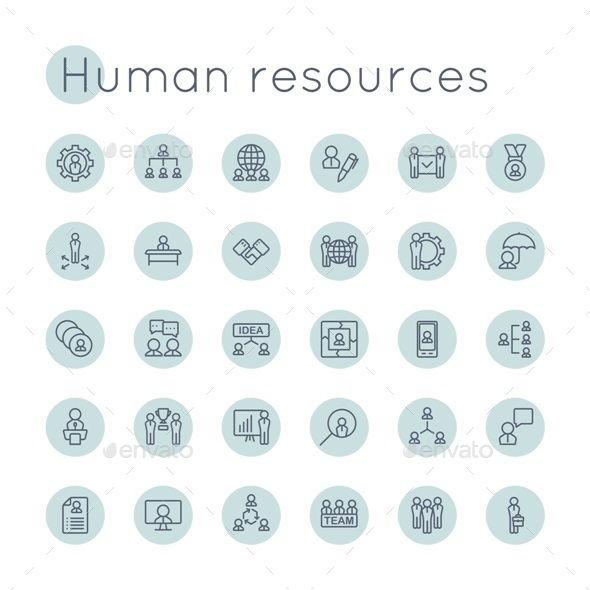 Vector Round HR Icons - Business Icons