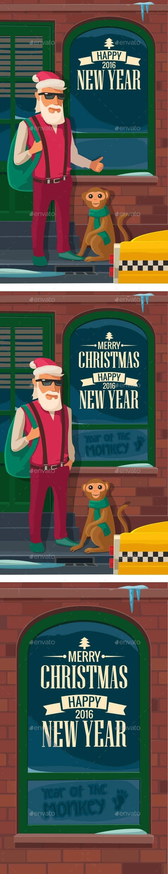 Hipster Santa Claus with Monkey and Taxi - Christmas Seasons/Holidays