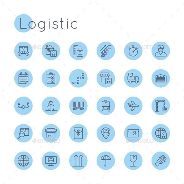 Vector Round Logistic Icons - Business Icons