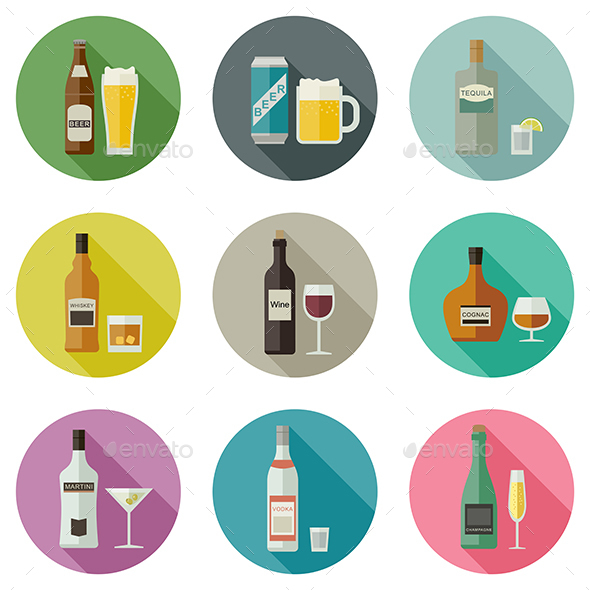 Beverages and Drinks Icons - Food Objects