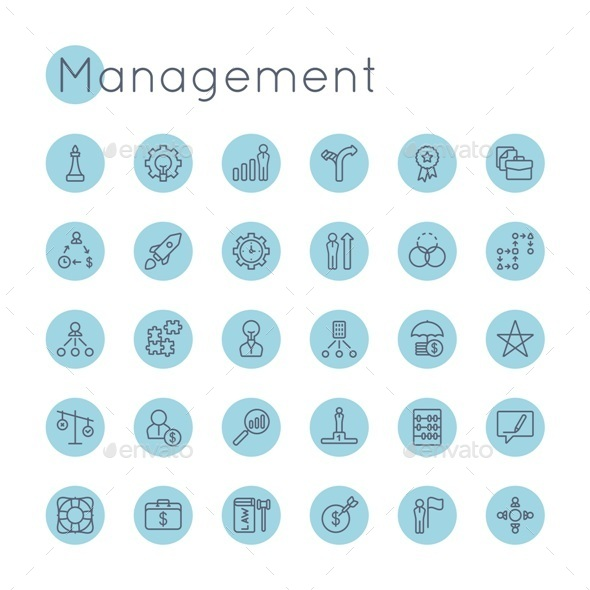 Vector Round Management Icons - Business Icons