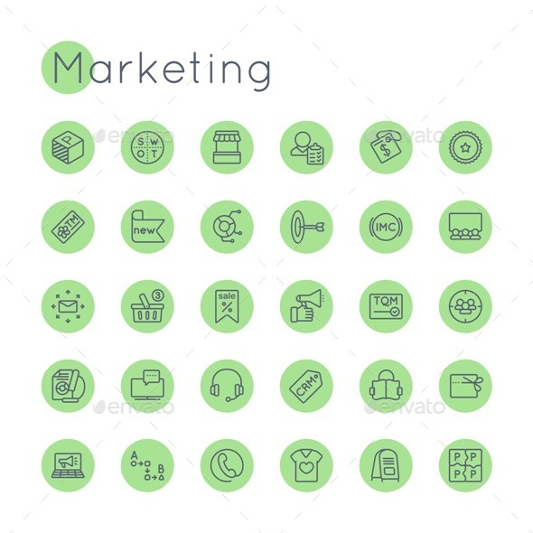 Vector Round Marketing Icons - Business Icons