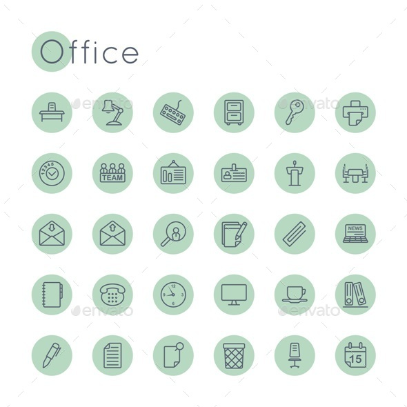 Vector Round Office Icons - Business Icons