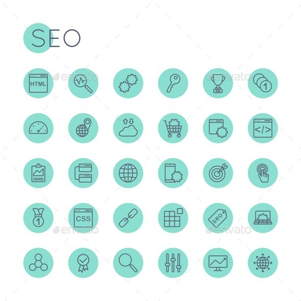 Vector Round SEO Icons - Technology Icons