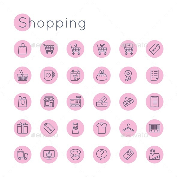 Vector Round Shopping Icons - Business Icons
