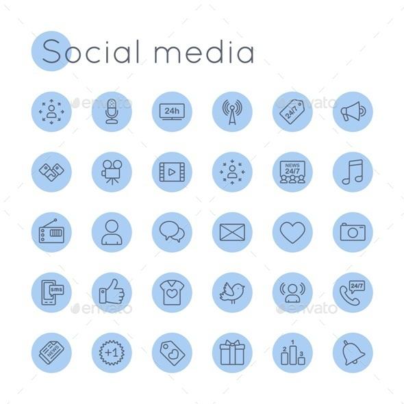 Vector Round Social Media Icons - Media Icons
