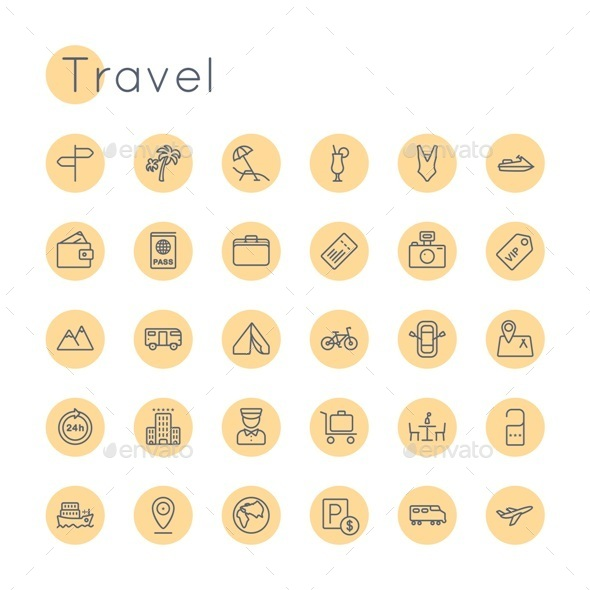 Vector Round Travel Icons - Miscellaneous Icons