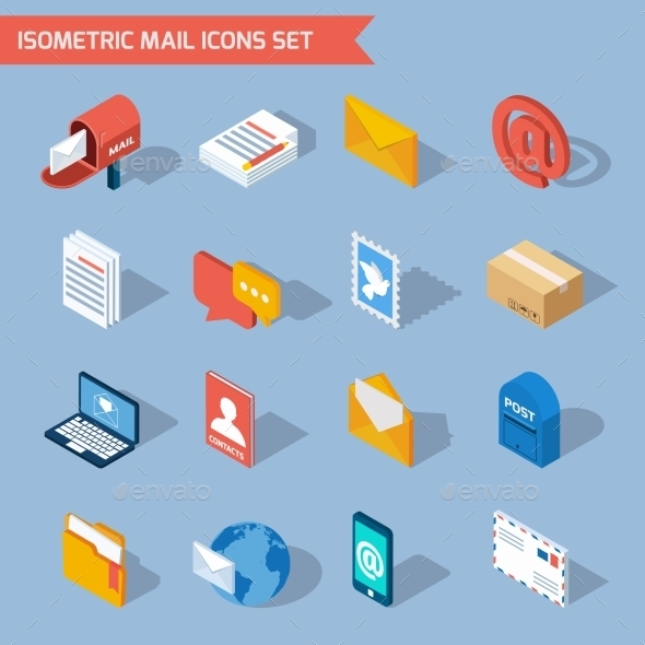 Isometric Mail Icons - Communications Technology
