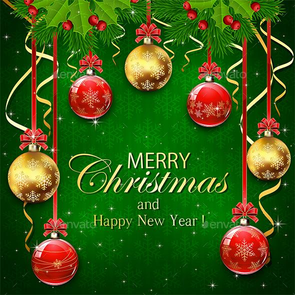 Green Background with Christmas Balls - Christmas Seasons/Holidays
