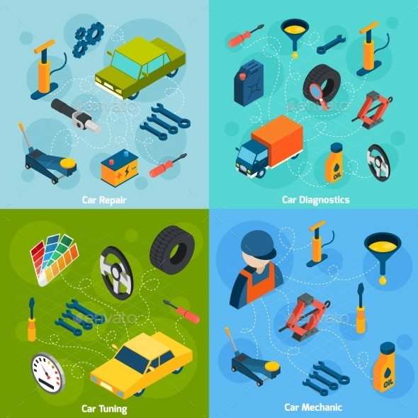 Car Repair and Tuning Isometric Icons - Man-made Objects Objects