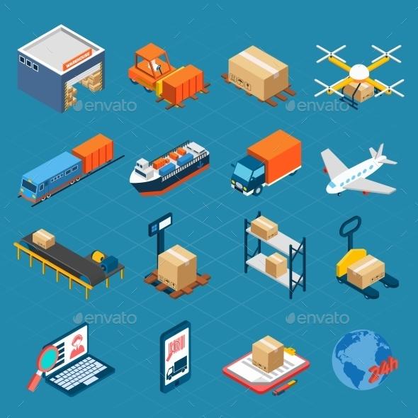 Isometric Logistic Icons - Decorative Symbols Decorative