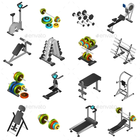 Realistic Fitness Equipment Icons Set - Man-made objects Objects