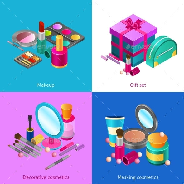 Cosmetics Isometric Set - Man-made Objects Objects
