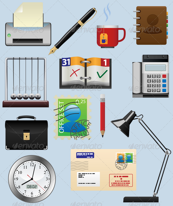 Office Icon Set - Man-made Objects Objects