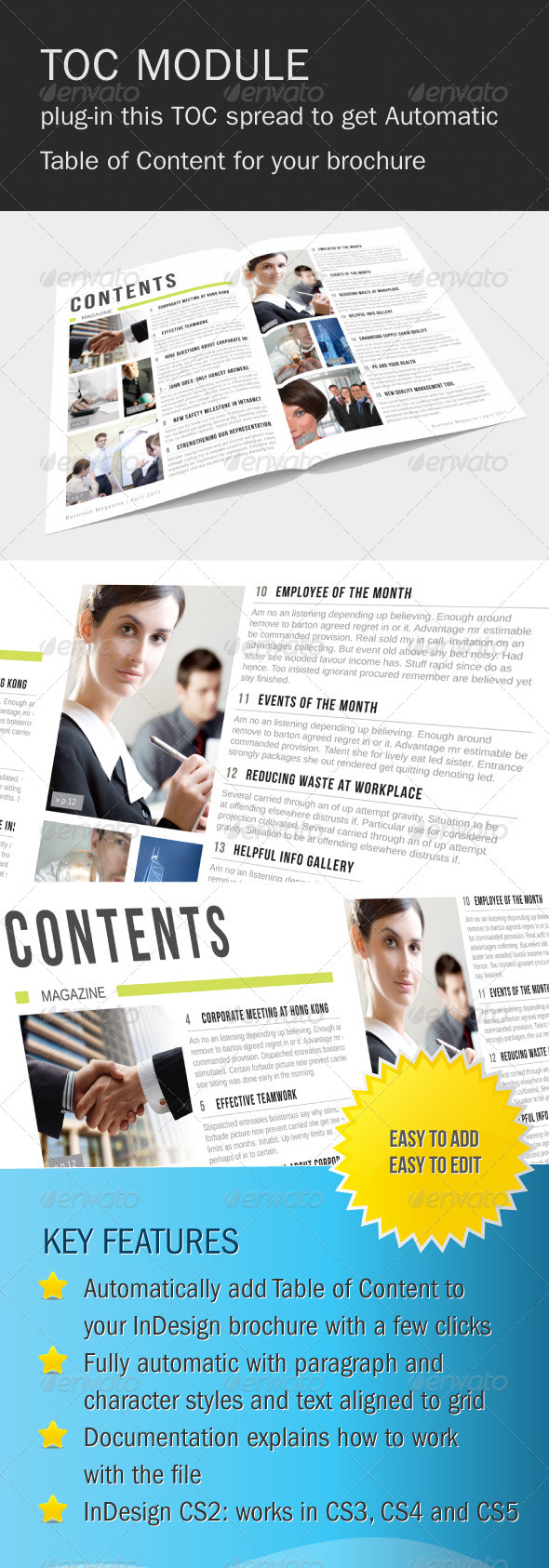 Automatic Table of Content Module - Magazines Print Templates