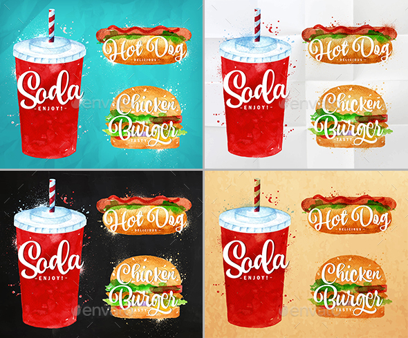 Watercolor Fast Food Elements - Food Objects