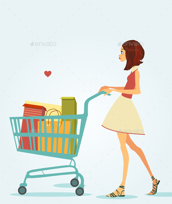 Girl with Shopping Cart - People Characters