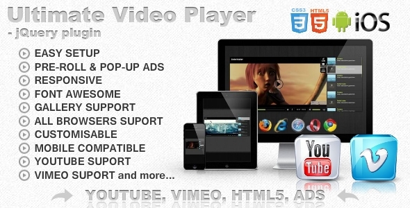 Ultimate Video Player with YouTube, Vimeo, HTML5, Ads Nulled Scripts