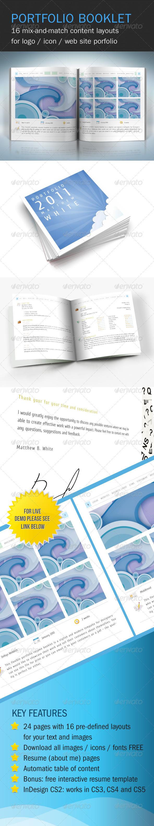 Flexible Portfolio Booklet with Resume - Portfolio Brochures