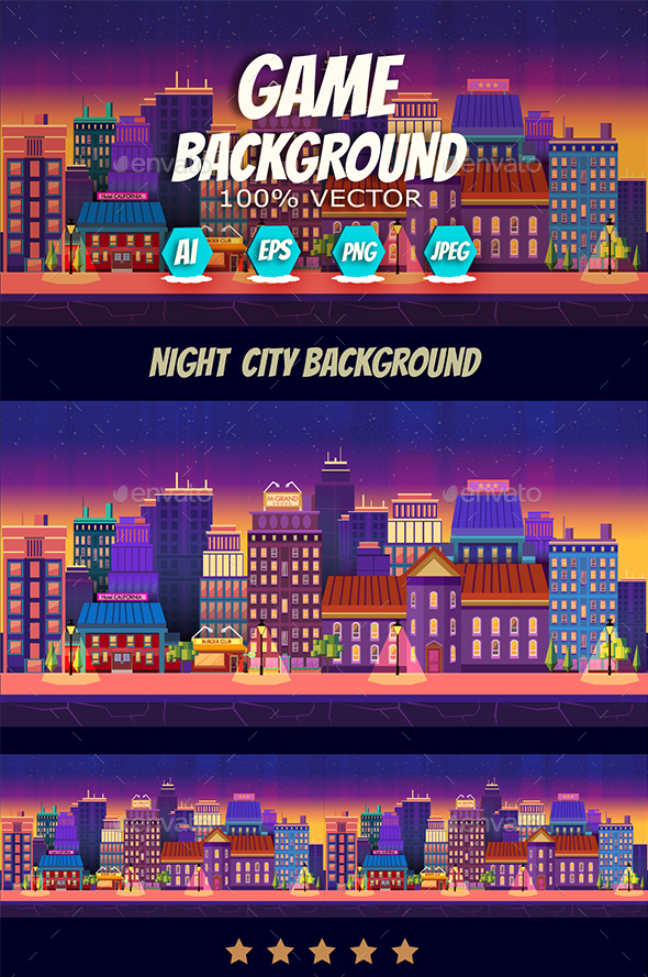 Night City Game Background Panorama - Backgrounds Game Assets