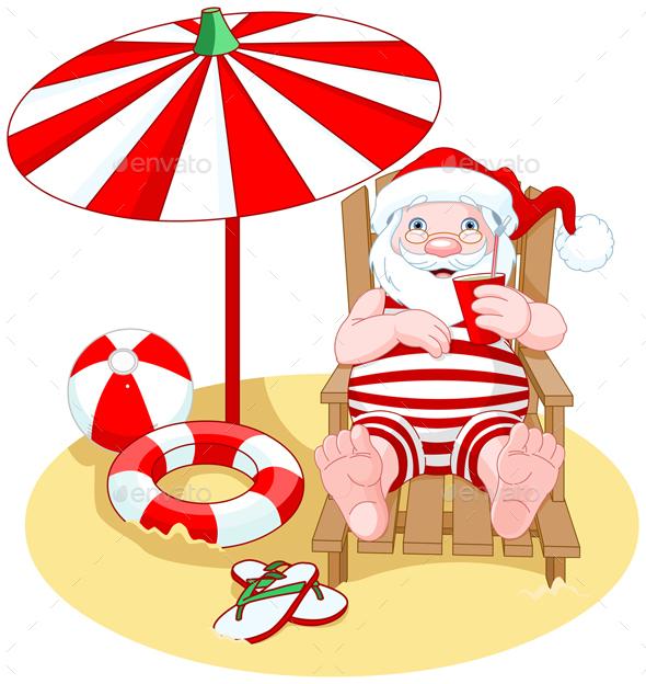 Santa Claus on the Beach - Christmas Seasons/Holidays