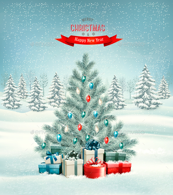 Holiday Christmas Background With Gift Boxes - Christmas Seasons/Holidays
