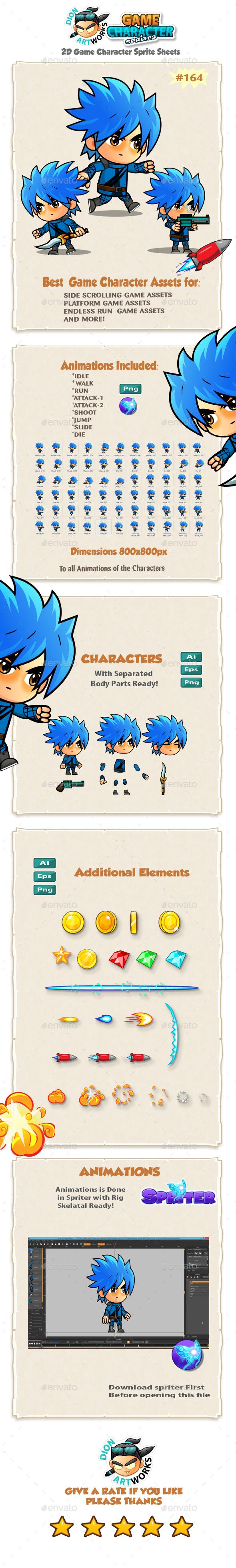 2D Game Character Sprites 164 - Sprites Game Assets