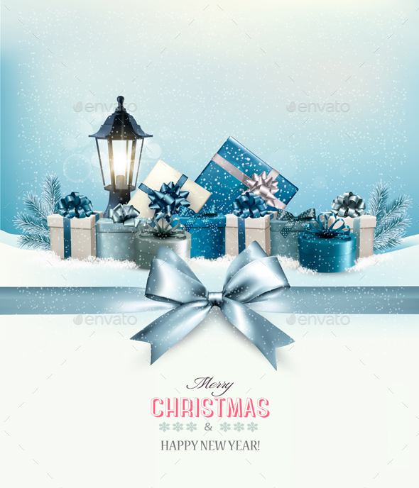 Merry Christmas Card With A Ribbon And Gift Boxes - New Year Seasons/Holidays