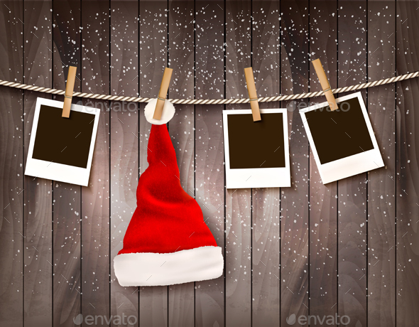 Holiday Background With A Santa Hat And Photos - Christmas Seasons/Holidays