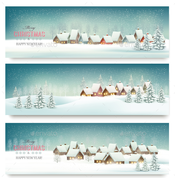 Holiday Christmas Banners With Villages. Vector. - Christmas Seasons/Holidays
