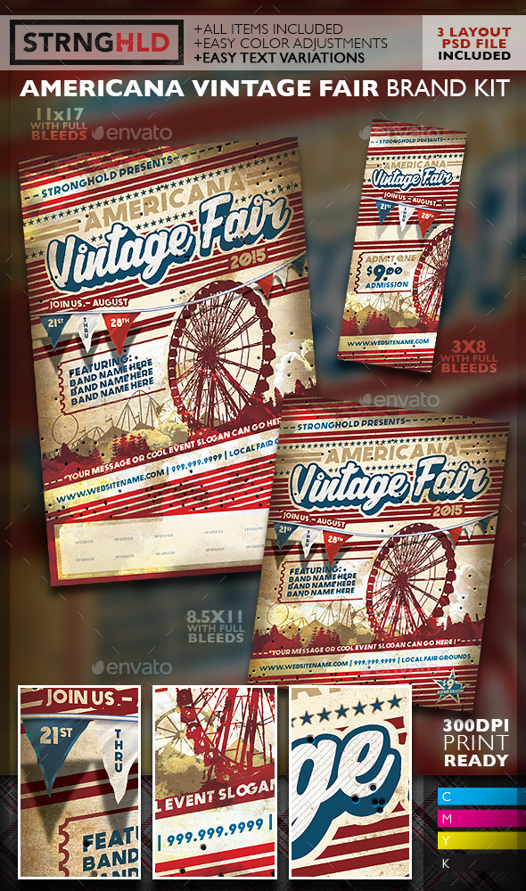 Vintage Carnival Fair Event Branding Templates - Miscellaneous Events