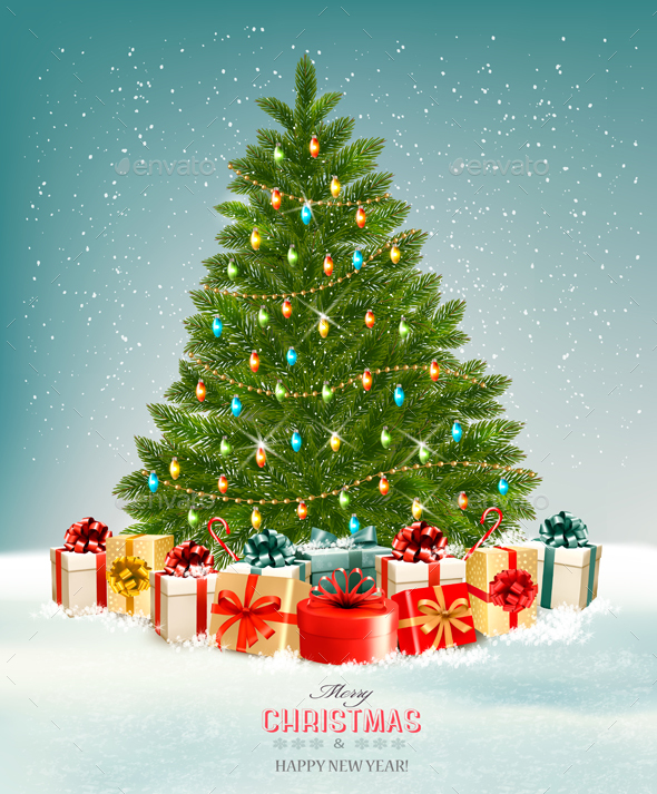 Holiday Christmas Background With Presents And Tree - Christmas Seasons/Holidays