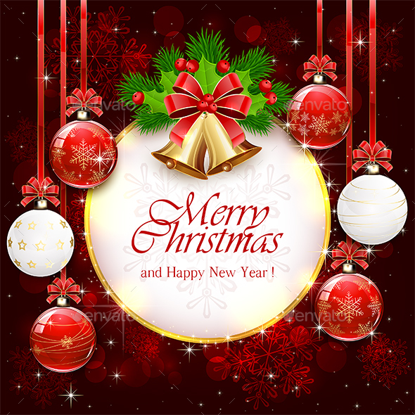 Red Sparkle Background with Christmas Bells - Christmas Seasons/Holidays