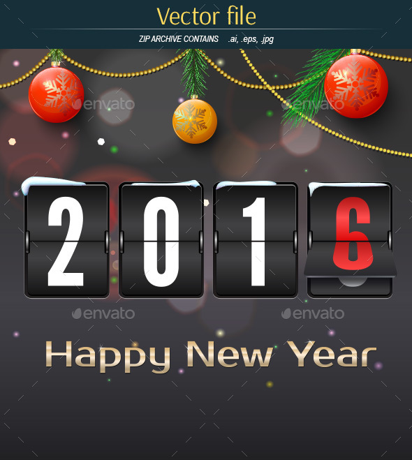 New Year Greetings Card with Scoreboard - Decorative Vectors