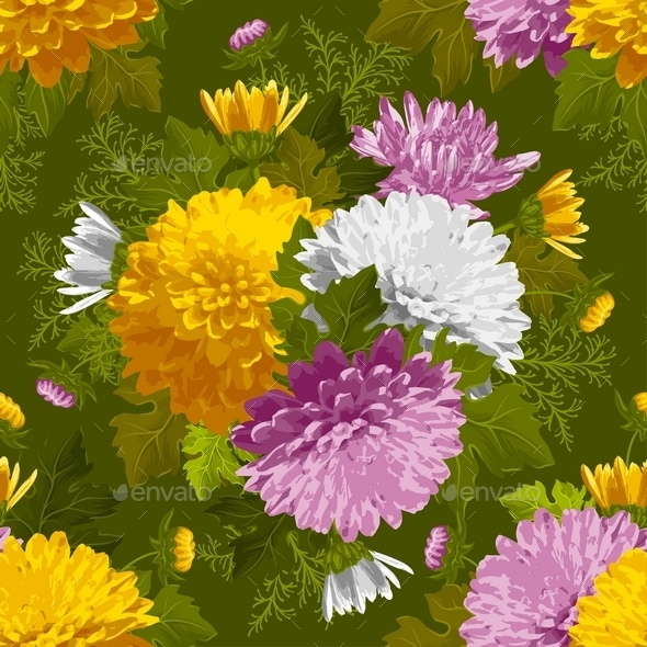 Excellent Seamless Pattern With Chrysanthemum - Patterns Decorative