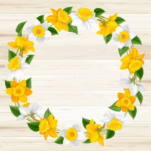 Wreath Of Spring Flowers - Decorative Vectors