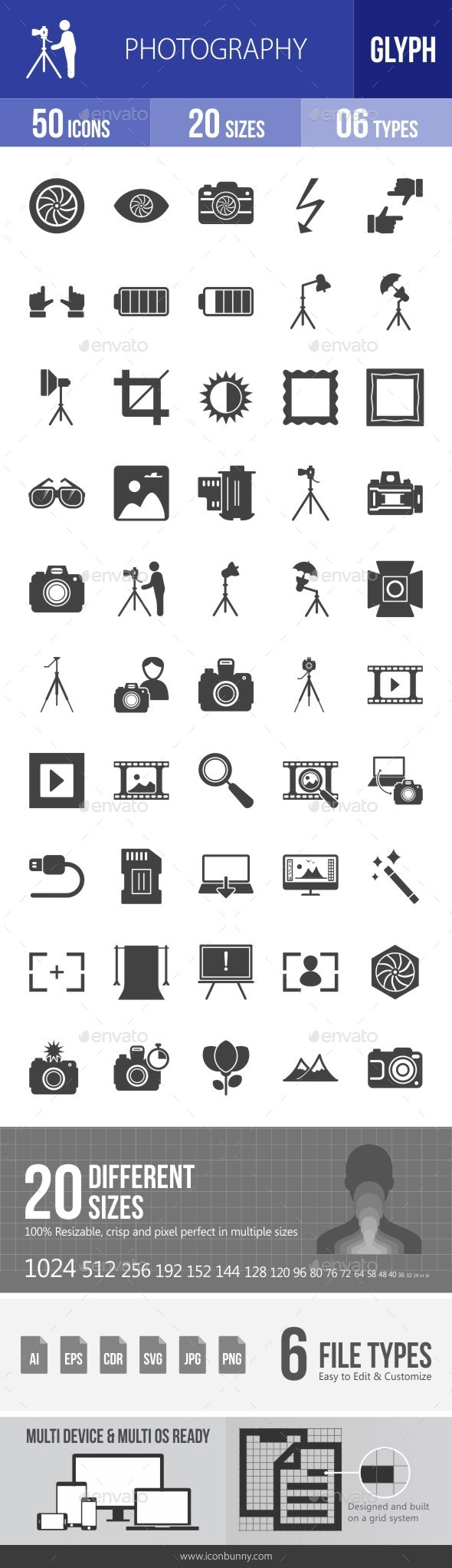 Photography Glyph Icons - Icons