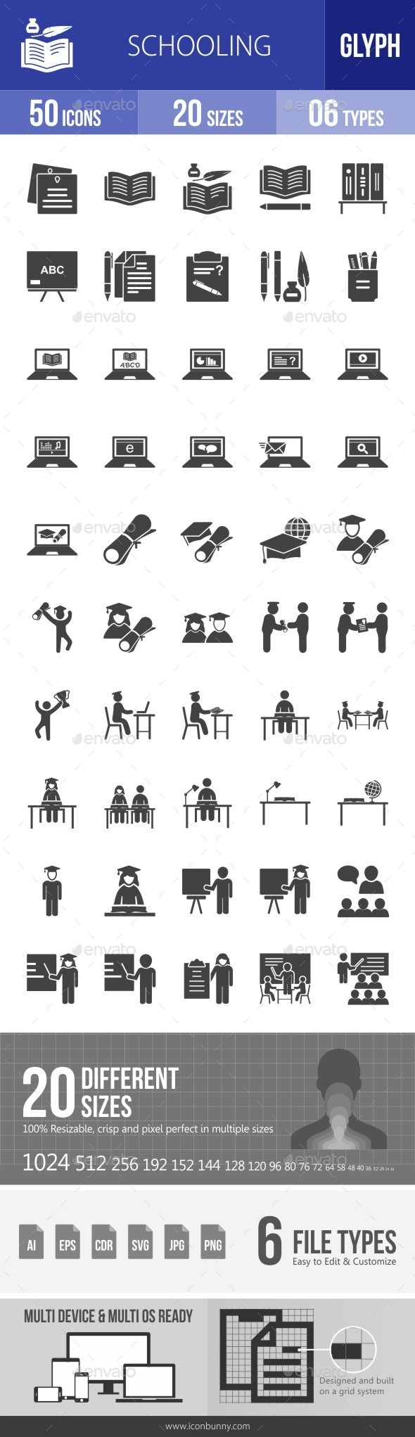 Schooling Glyph Icons - Icons