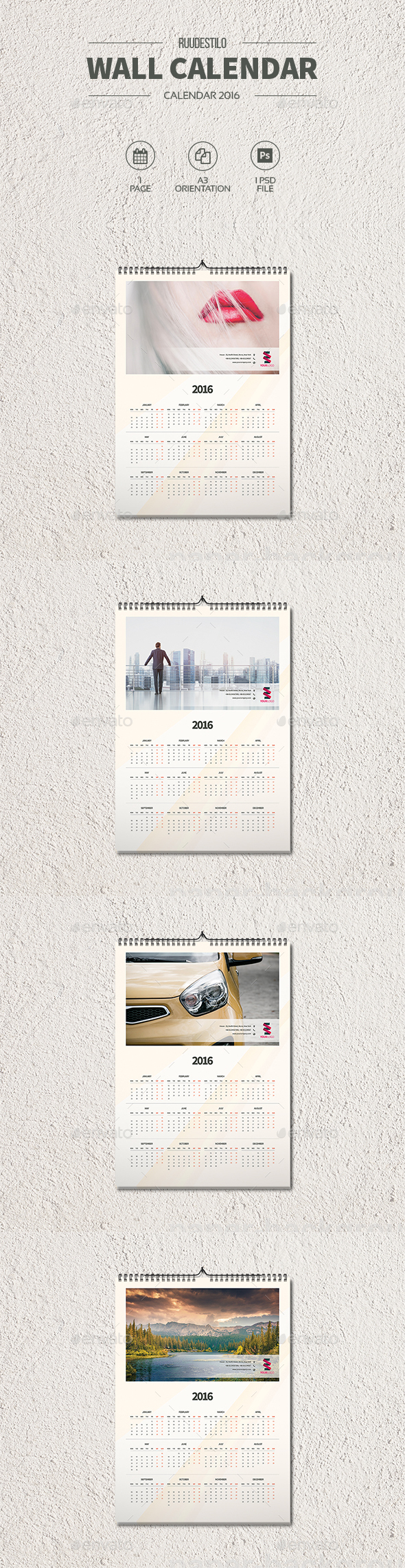 Clean Wall Calendar 2016 - Calendars Stationery
