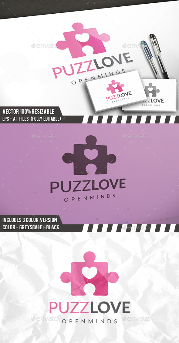 Puzzle Love Logo - Symbols Logo Templates