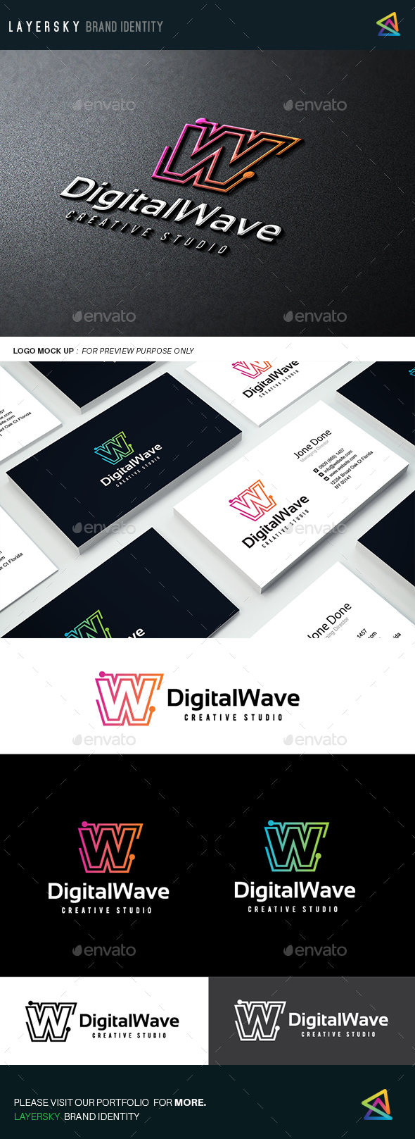 Digital Wave Logo - Letters Logo Templates