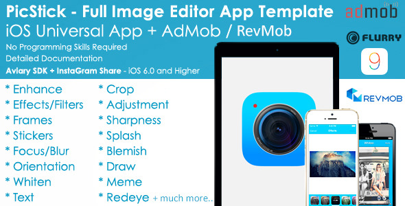 PicStick iOS Image Editor App Template + AdMob/iAd - CodeCanyon Item for Sale
