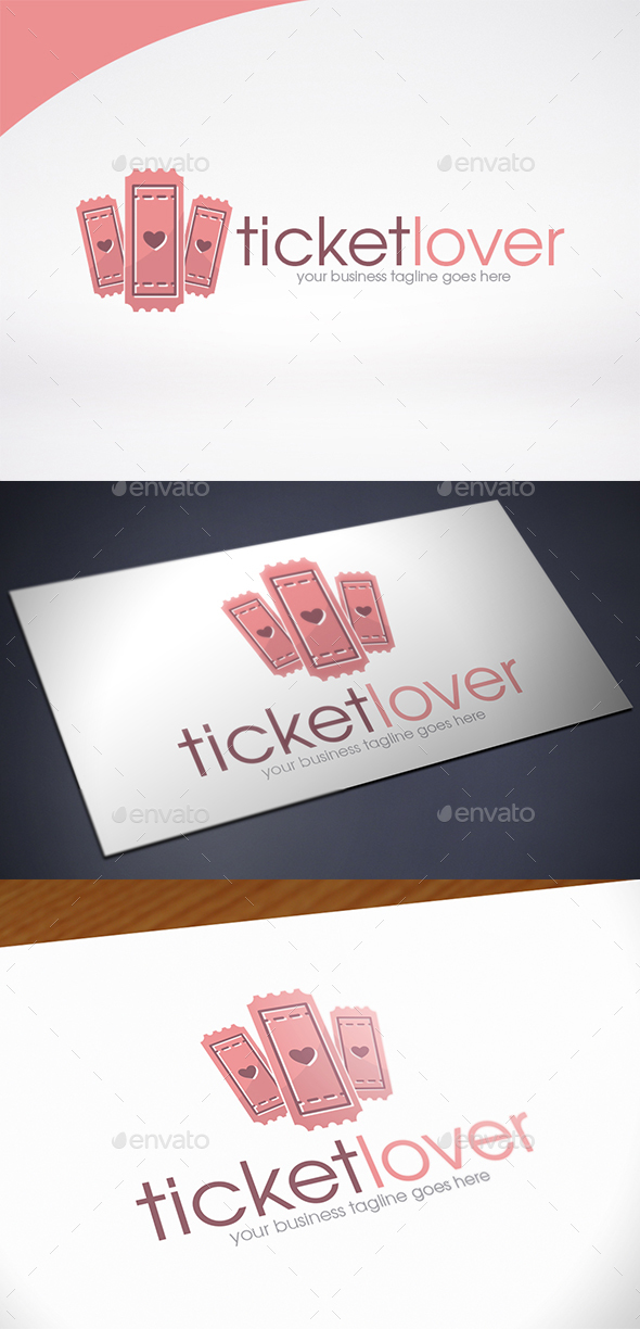 Ticket Love Logo Template - Objects Logo Templates