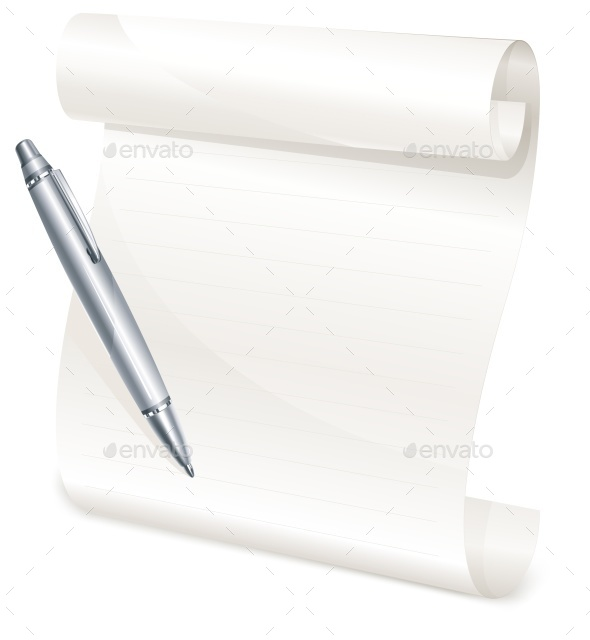 Scroll Yellow Paper with Grey Pen - Food Objects