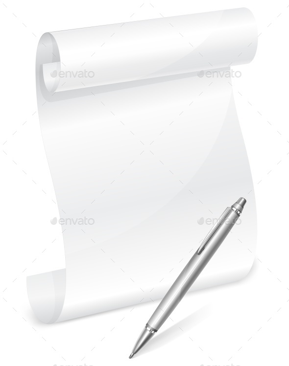 Scroll White Paper with Grey Pen - Food Objects