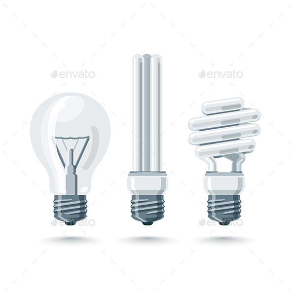 Isolated Vector Light Bulbs - Technology Conceptual