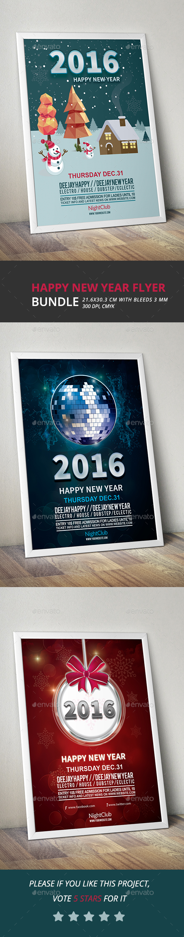 Happy New Year Flyers Bundle 2016 - Clubs & Parties Events