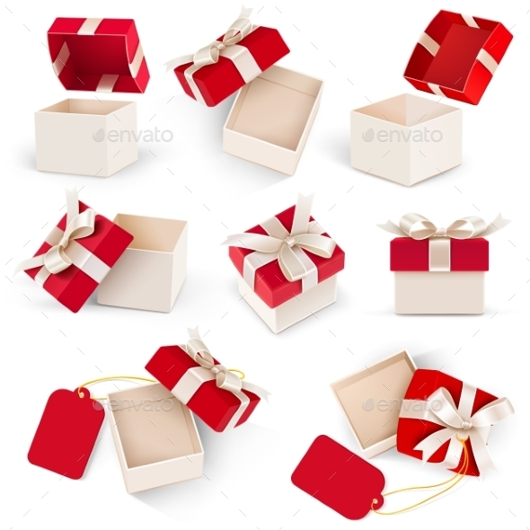Gift Box Set Vector  - Valentines Seasons/Holidays