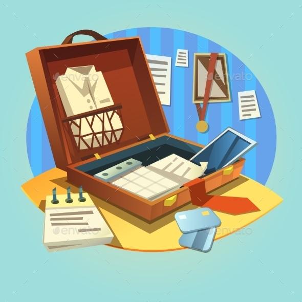 Business Retro Briefcase - Decorative Symbols Decorative