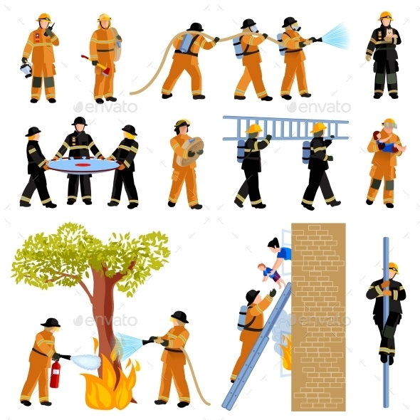 Firefighter People Flat Color Icons Set - Decorative Symbols Decorative